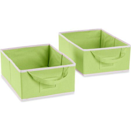 Seed Sprout Set Of 2 Small Canvas Storage Box Green Walmart Com Canvas Storage Storage Box Storage