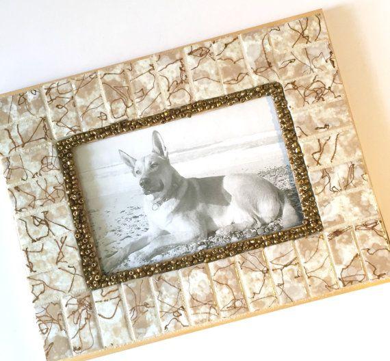 Vintage Tile Frame, Mosaic Frame Vintage Tile, Mixed Media Picture ...