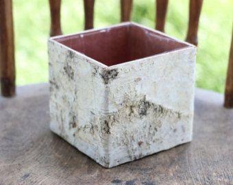 Birch bark vases, wooden box floral arrangement square flower pot, centerpieces planter rusti... #flowerpot