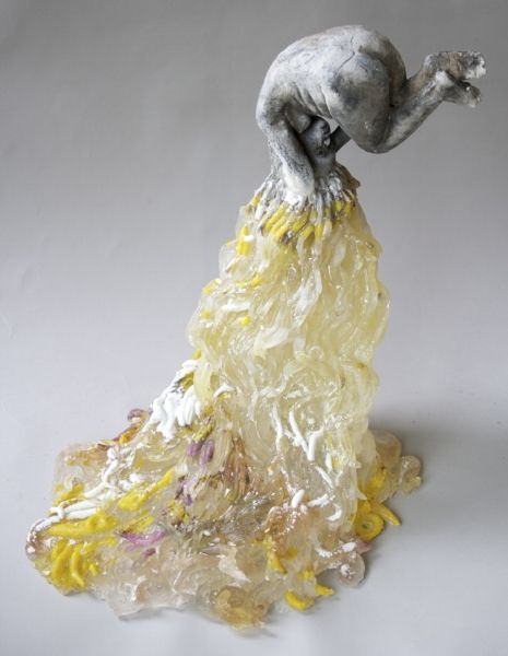 """Rapunzel, Rapunzel, Let Down Your Hair,"" by Christina Bothwell. Material: Cast glass, raku clay (21 x 17 x 12 inches)"