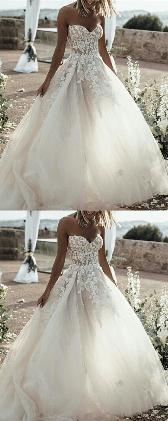 Lace embroidery sweetheart see through corset tulle wedding dresses
