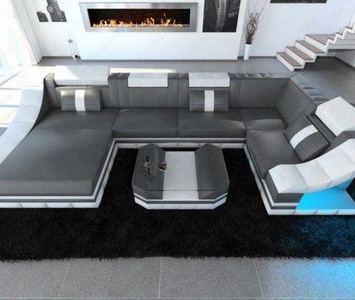 Epic  Moderne Design Wohnlandschaft TURINO U Form aus Leder mit LED Beleuchtung Multifunktionale Kopfst tzen und optionale Schlaffunktion in der u