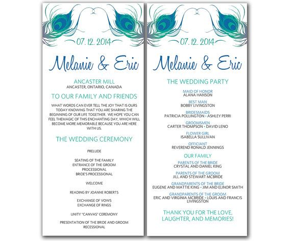 DIY Peacock Wedding Program Microsoft Word Template - Peacock - program templates word