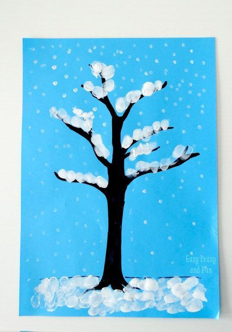 Winter Craft Ideas For Kids Easy Part - 19: Winter Tree Finger Painting - Quick Art Project For Kids | Easy Peasy,  Finger And Winter