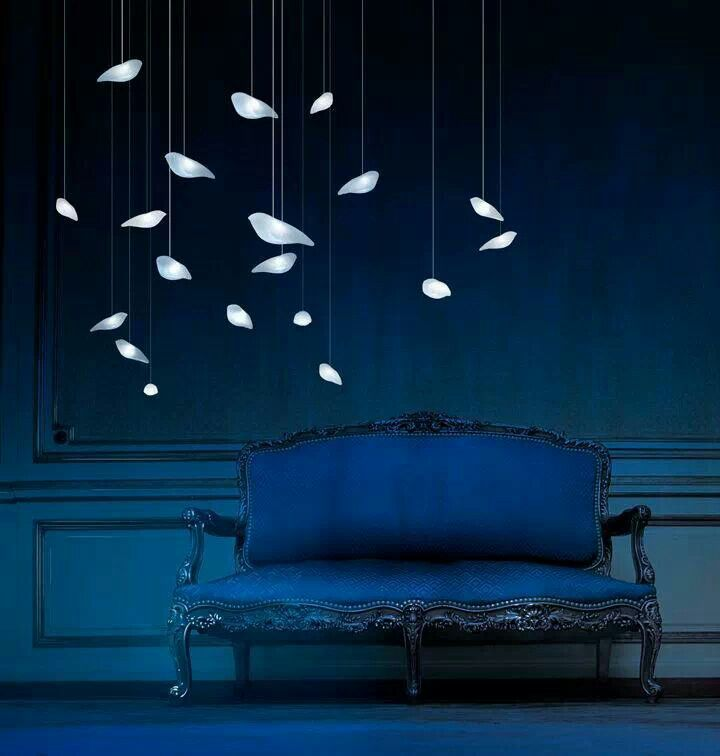 Bird lamps on blue ........