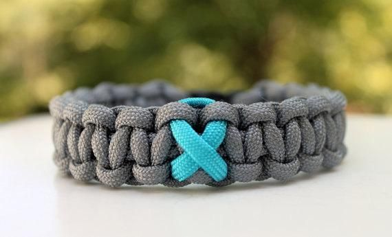 Ovarian Cancer Awareness Ribbon 550 Paracord Survival Strap Bracelet Anklet with Buckle Your Choice $8.50