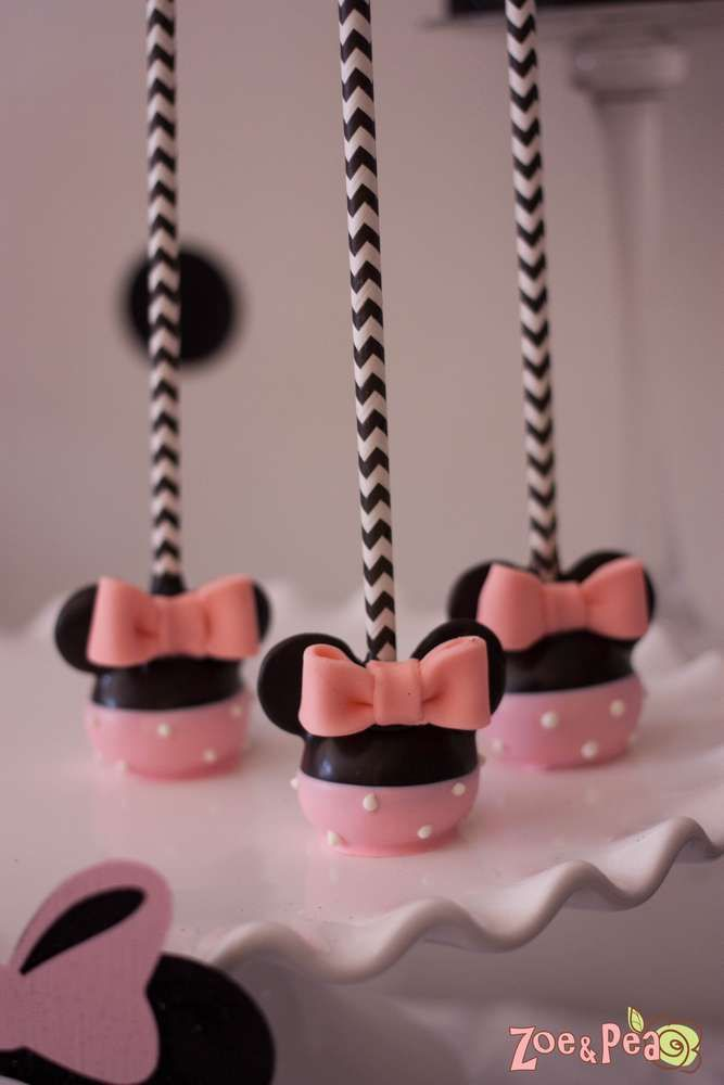 Cute Cake Pops At A Minnie Mouse In Paris Birthday Party See More
