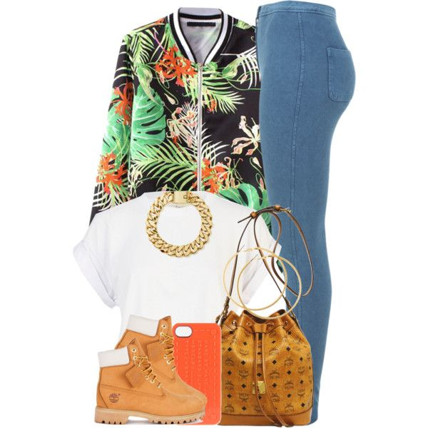 Orange Leaves. by livelifefreelyy on Polyvore featuring River Island, Miss Selfridge, Timberland, MCM, H&M and MARC BY MARC JACOBS