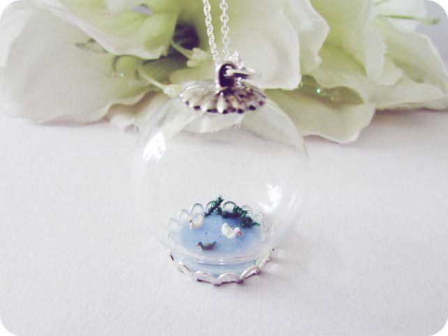 Buttonsy Glass Globe Necklace - Tiny Duck Pond (Folksy) £24.00