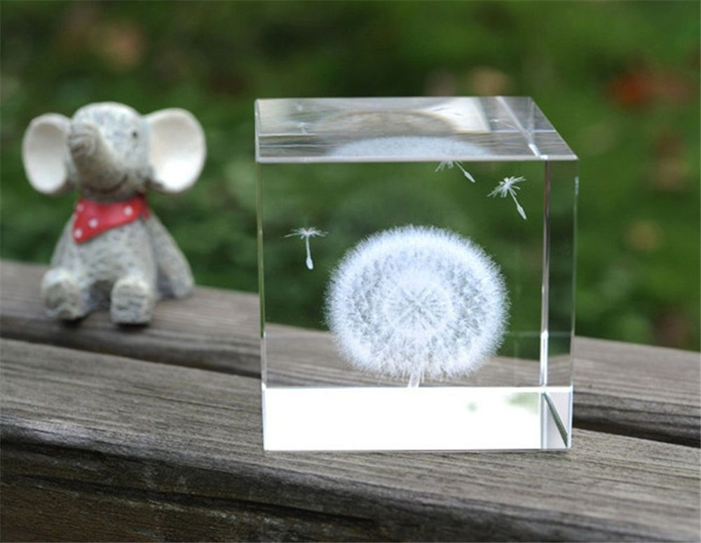 New Creative Cube Crystal Dandelion Home Desk Decoration Birthday Gift Ornaments