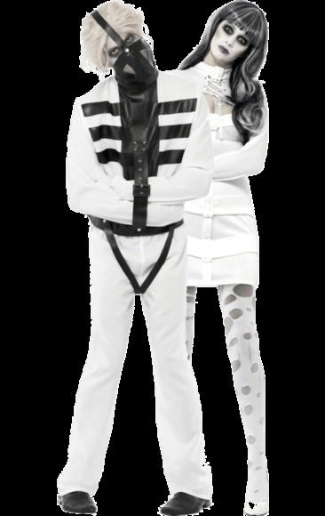 Straight Jacket Couple Costumes Jokers Masquerade Halloween Is