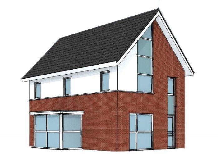 Eigentijds huis met entree voorzijde woonstijl modern