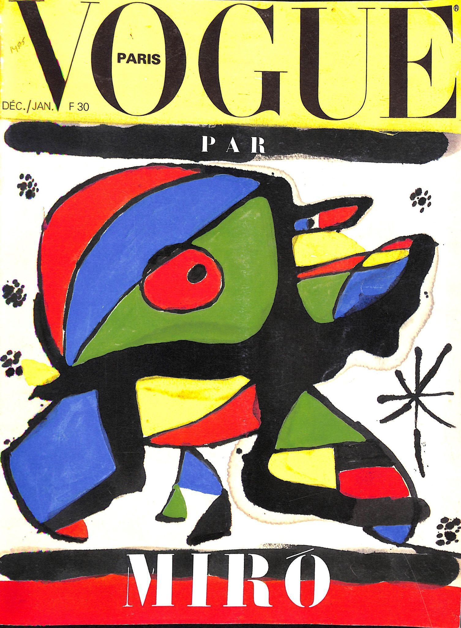 Joan Miró, Vogue cover, December 1979 issue.