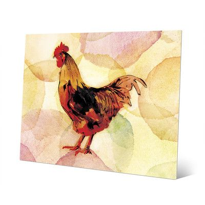 "Click Wall Art 'Inked Rooster on Persimmon' Graphic Art on Metal Size: 16"" H x 20"" W x 0.04"" D"