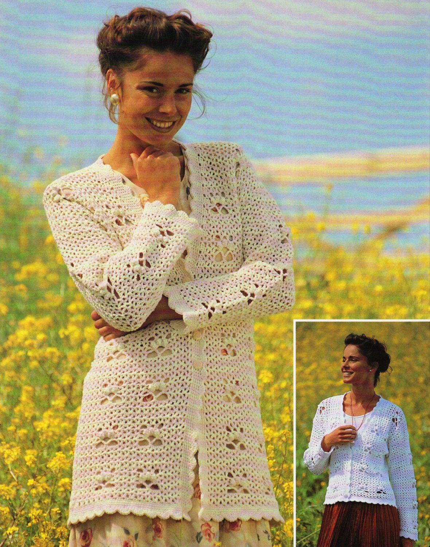 Crochet U.K. Womens Cardigan Sweater Pattern, Long or Short Cardigan ...