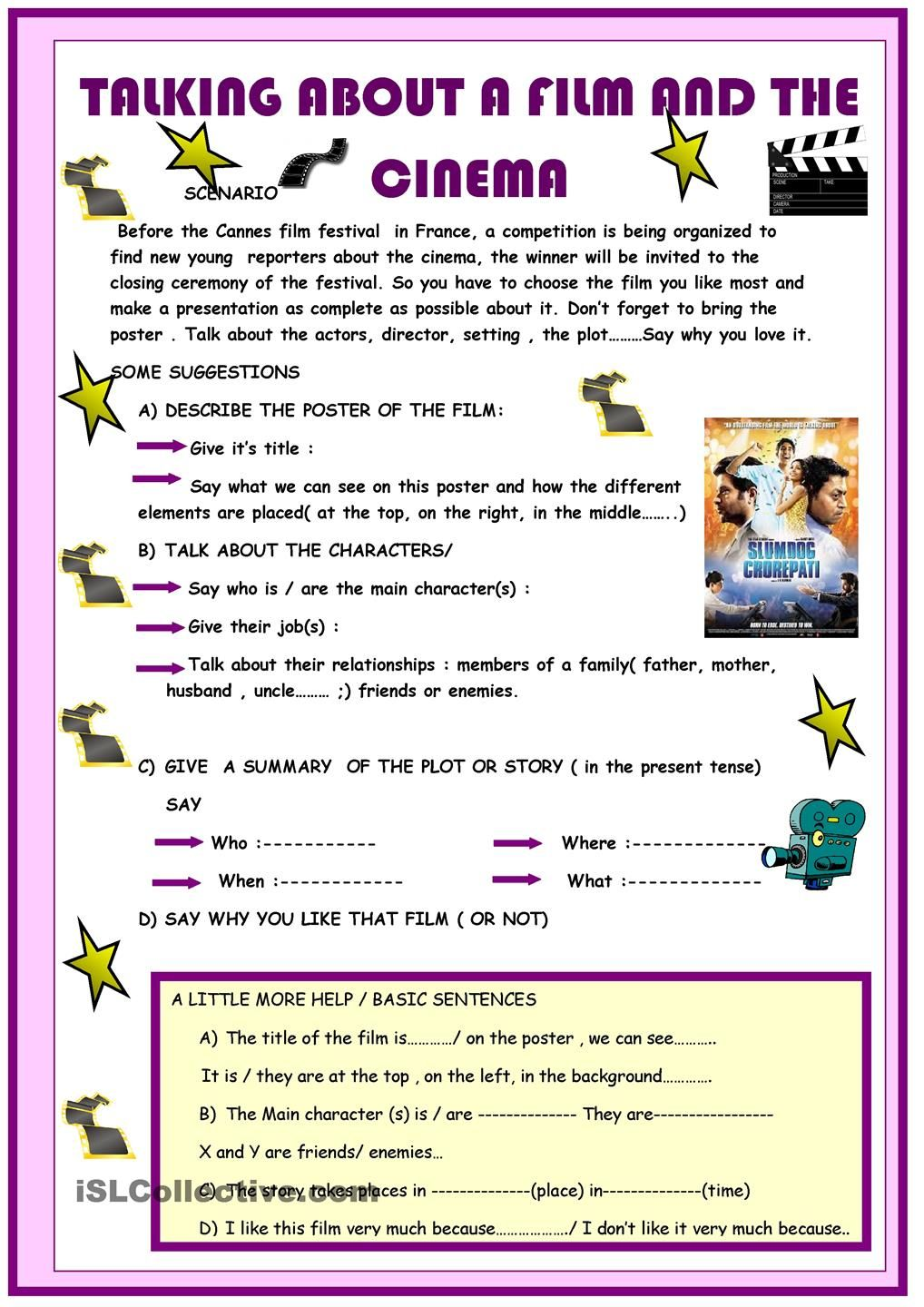 Talking About A Film And The Cinema  English Worksheets