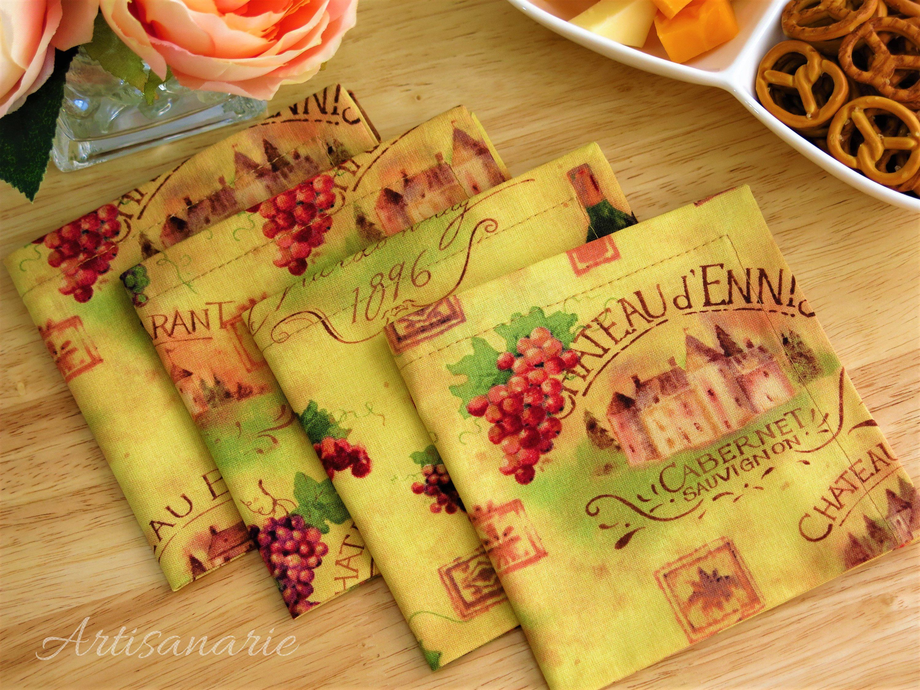 Vineyards Cocktail Napkins, Wine Tasting, Beverage Appetizer Napkins, Happy Hour