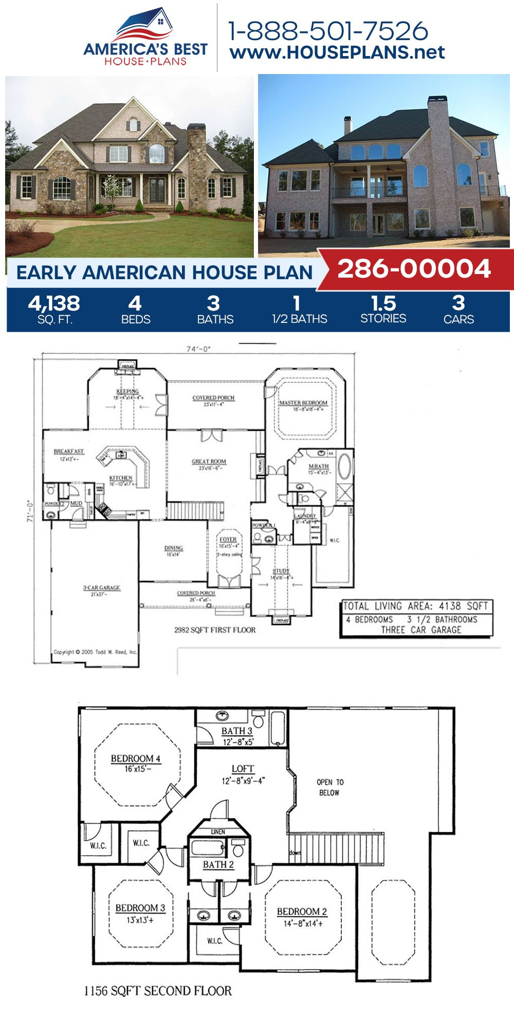 House Plan 286 00004 Early American Plan 4 138 Square Feet 4 Bedrooms 3 5 Bathrooms Two Story House Design Sims House Plans Dream House Plans