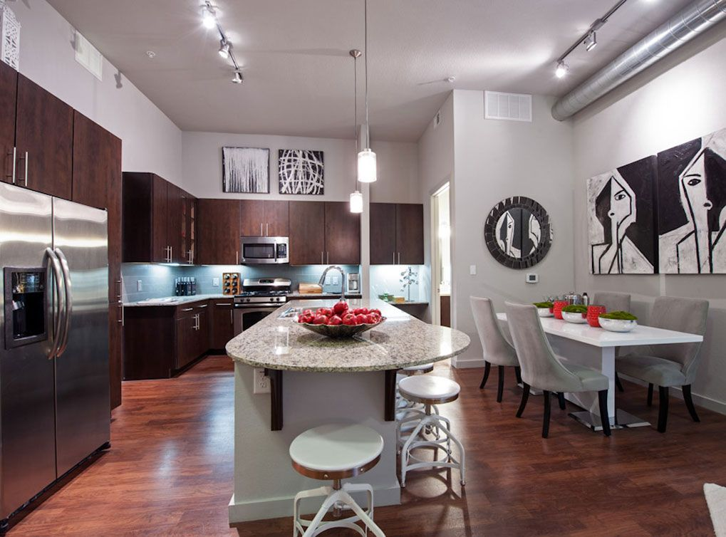 Model Kitchen And Living Room At Amli Uptown A Luxury Apartment