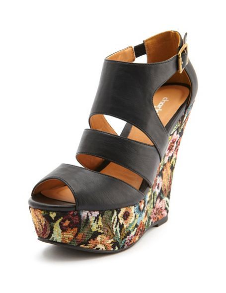 f829cb4f2c7 Contrast Floral Peep Toe Wedge  Charlotte Russe