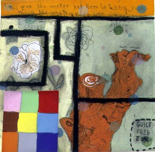 SQUEAK CARNWATH, Winter Spring, 2002 Color sugarlift aquatint & hardground etching with chine colle, scrape, burnish, roulette 19 x 18 inches Edition of 40