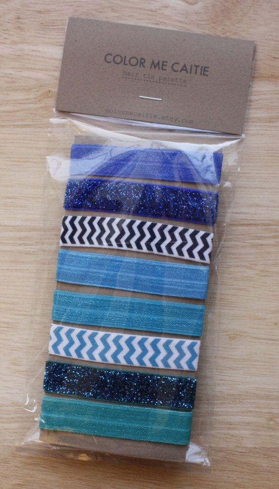 elastic hair ties -- blue party palette / etsy