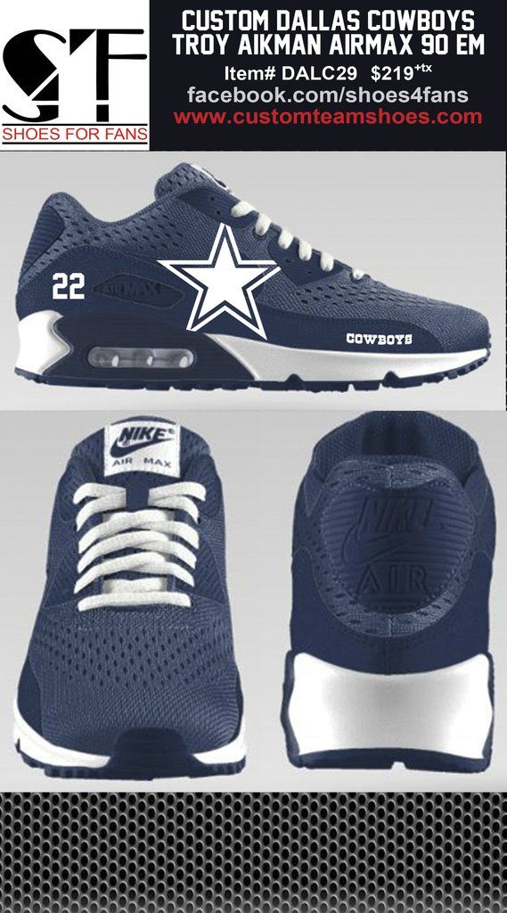 2bf80a087e ... uk custom dallas cowboys emmitt smith nike airmax 90 em shoes 81944  bfdf1