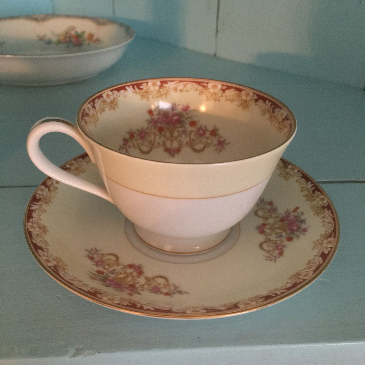 Nortake China Tea Cup and Plate Pink Floral Cheri