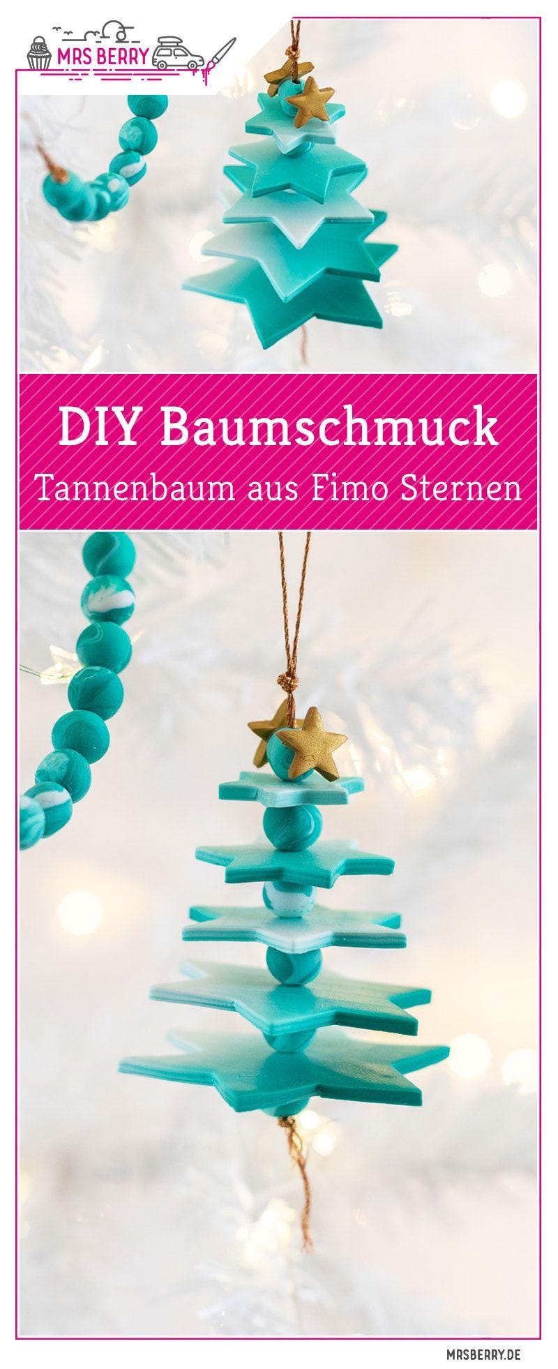 DIY Baumschmuck: Tannenbaum aus Fimo Sternen | MrsBerry.de #christbaumschmuckbastelnkinder