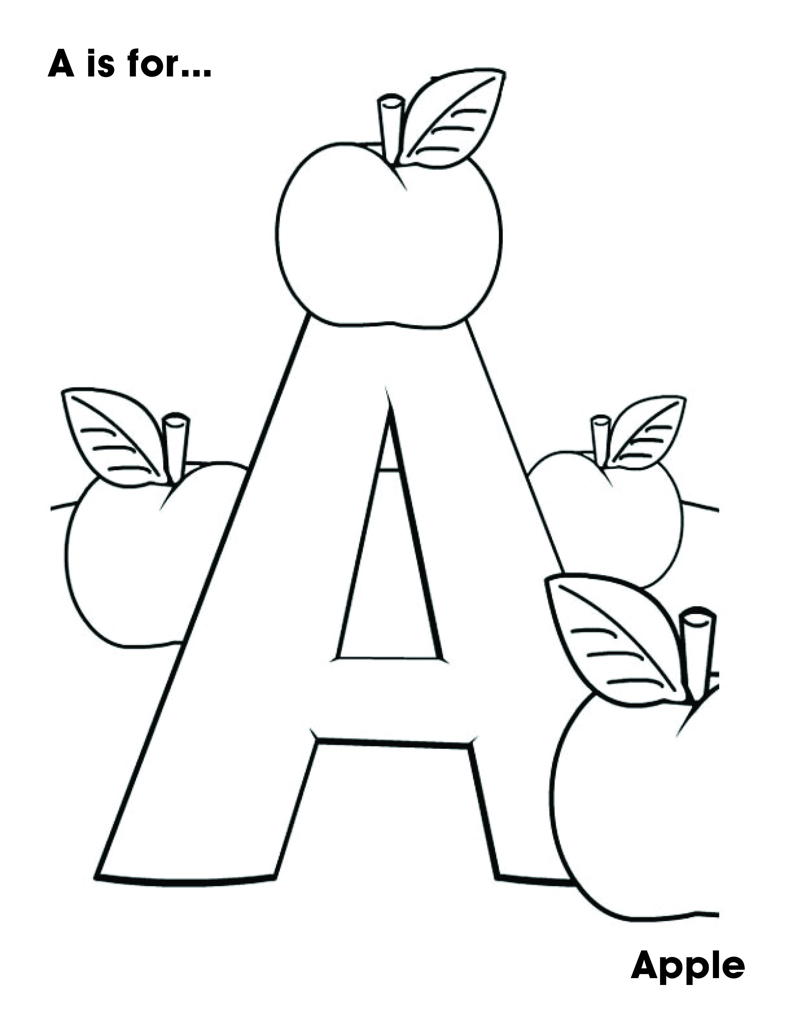 A Is For Apple Alphabet Coloring Pages Kindergarten Coloring Pages Abc Coloring Pages