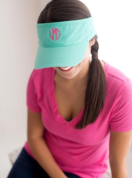 PERSONALIZED MONOGRAMMED WOMENS SUN BASEBALL VISOR CAP BEACH HAT