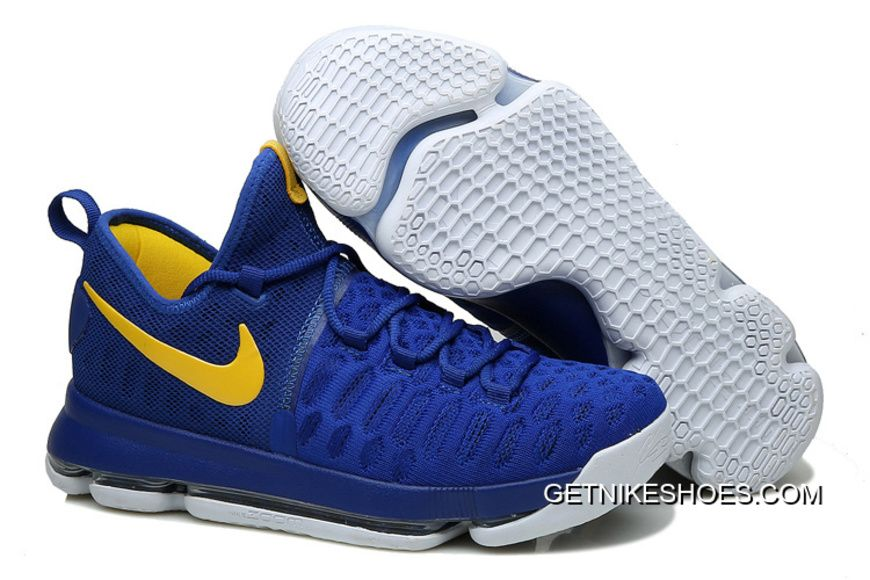 """d895e7b2f95 Nike KD 9 """"Golden State Warriors"""" Blue Yellow White New Style"""