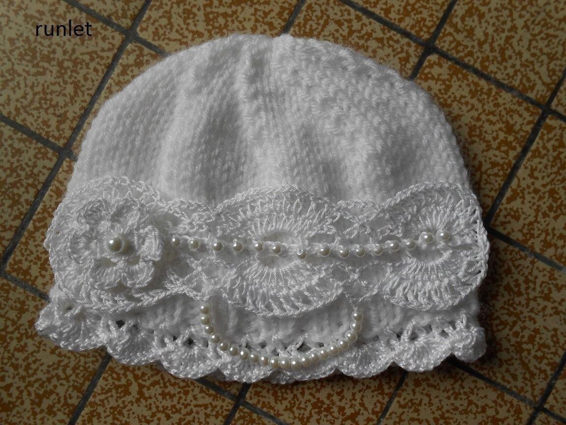 Bonnet Bebe Dentelle Blanc Au Crochet Bapteme Mode