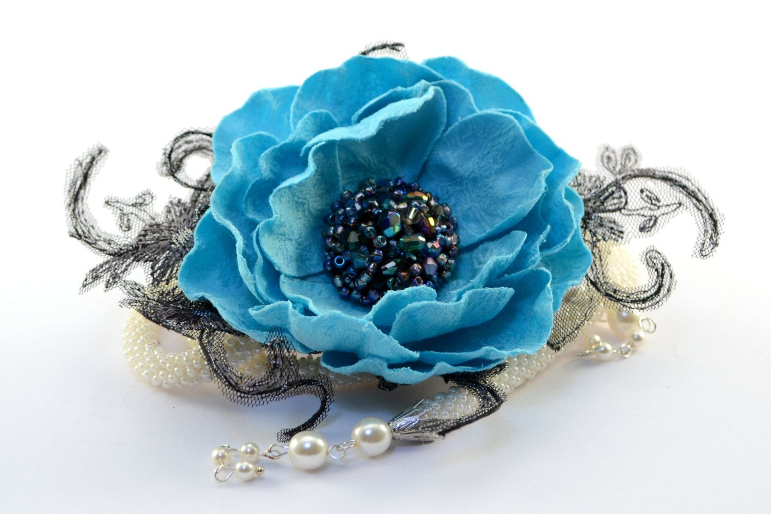 Satin Rose Flower Brooch Handmade Accessories Costume Design Aqua Blue Lace Flower with crystal wedding pearl Necklace Exclusive Unique (45.00 EUR) by AccessoriesMattea