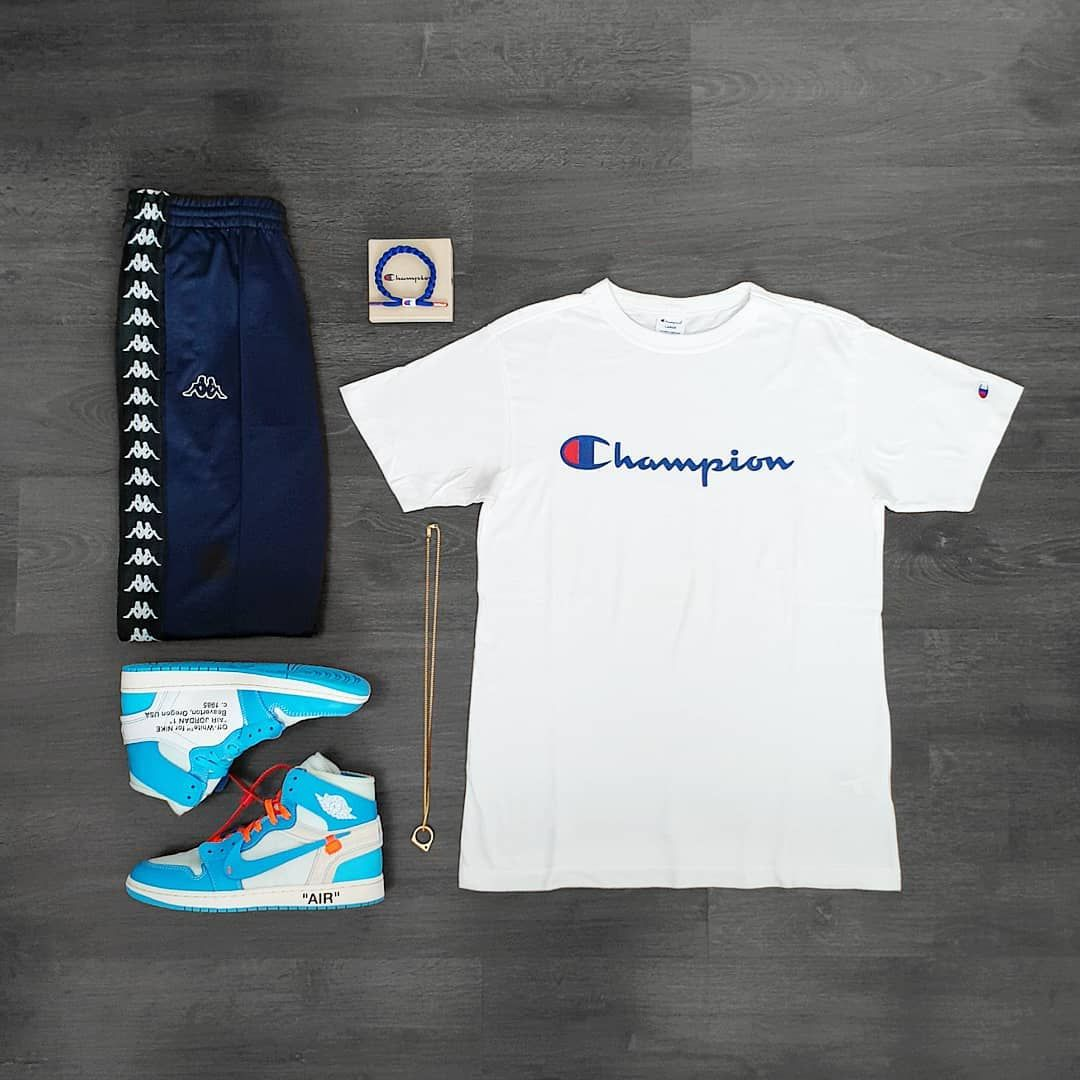 "Lord Gavin on Instagram: ""Outfit Grid . Blue @champion bracelet by @rastaclat @champion shirt and @kappa_official pants from @pacsun . #pacsun #pacsunmens #champion…"" #outfitgrid"