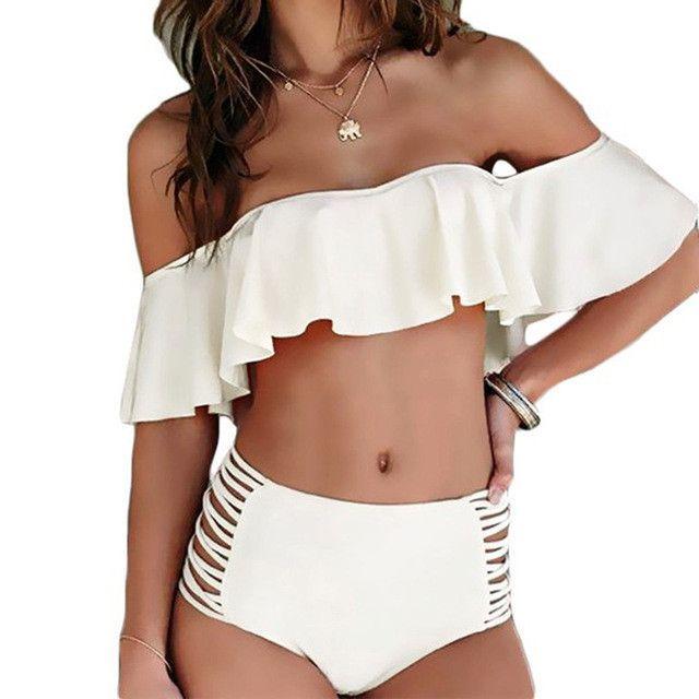 7500fba10ad7c High Waisted Swimwear Women Off Shulder Bikini Set Bandeau New 2017 Ruffle  Vintage Bikinis Swimsuit Cut Out Bottom Bathing Suits