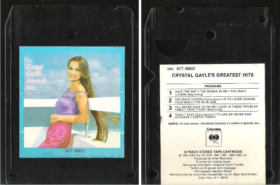 Gayle, Crystal / Greatest Hits (1983) / Columbia 8CT-38803 (8-Track Tape), $2.25