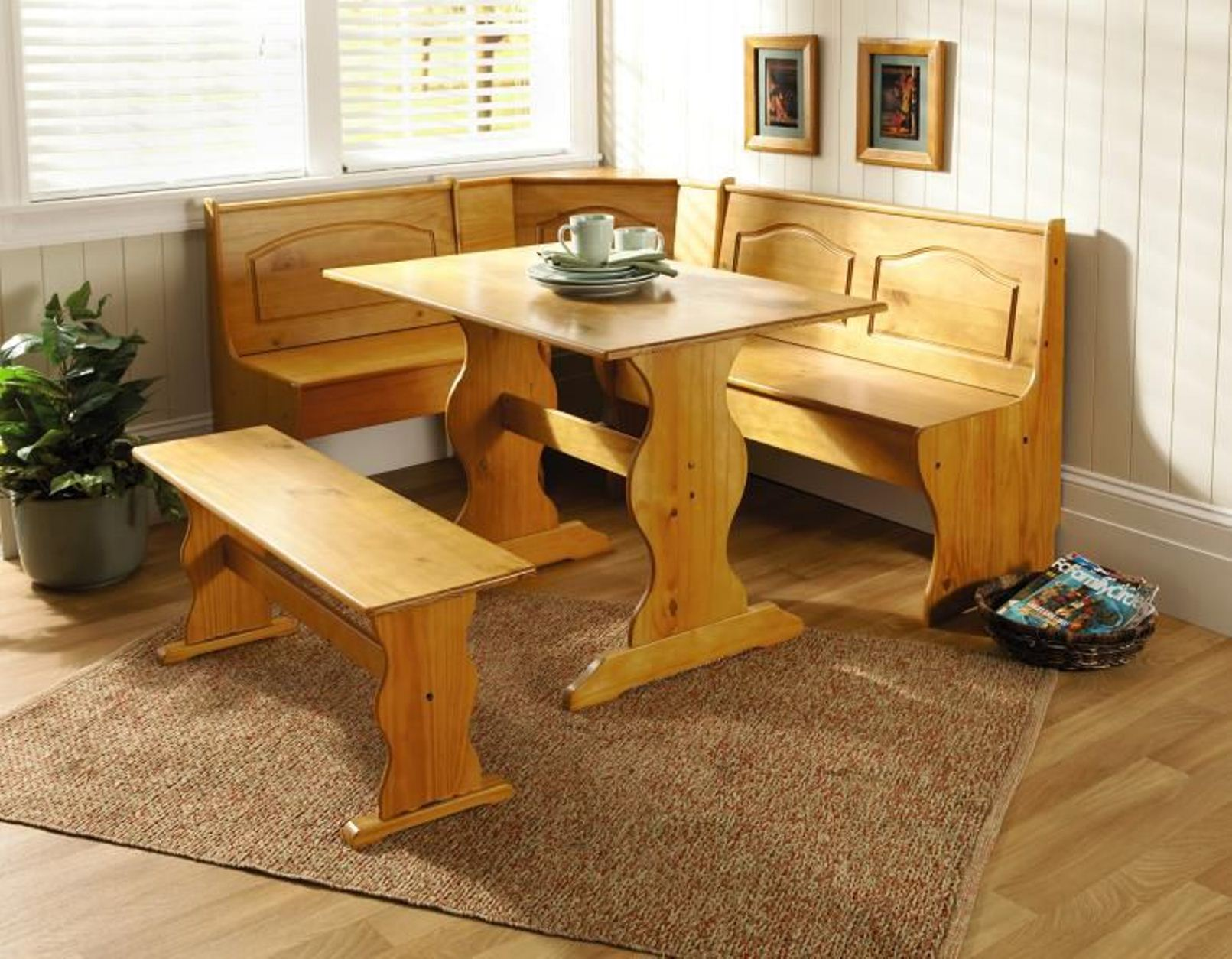 Essential Home 3 Piece Emily Breakfast Nook In Pine Brown