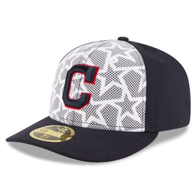 Cleveland Indians New Era Stars   Stripes Low Profile 59FIFTY Fitted Hat -  White Navy 491bf6581042