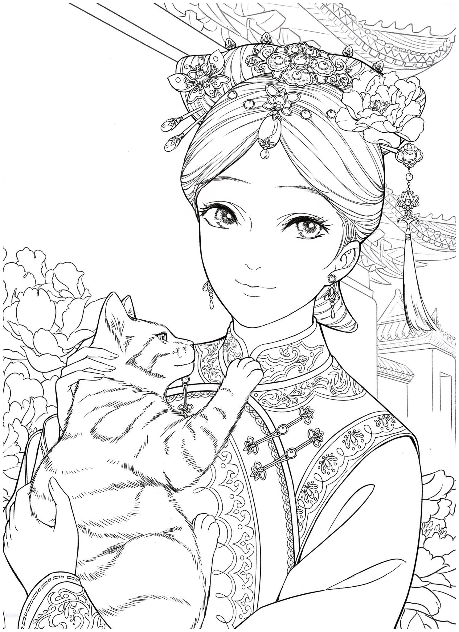 Chinese Portrait Coloring Ebook Vol 12 Kayliebooks Cute Coloring Pages People Coloring Pages Grayscale Coloring