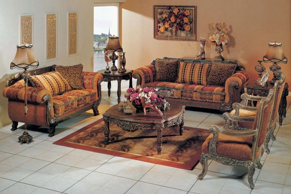 The avenue thiers striped sofa set living room furniture for Family sofa sets
