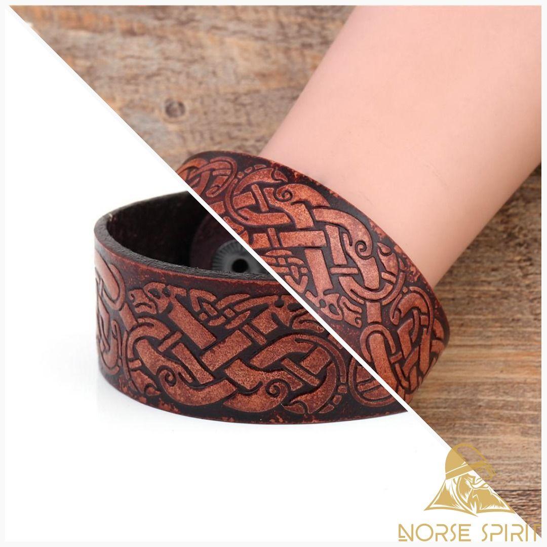 Dragon Knot Leather Viking Arm Rings VikingJewelry