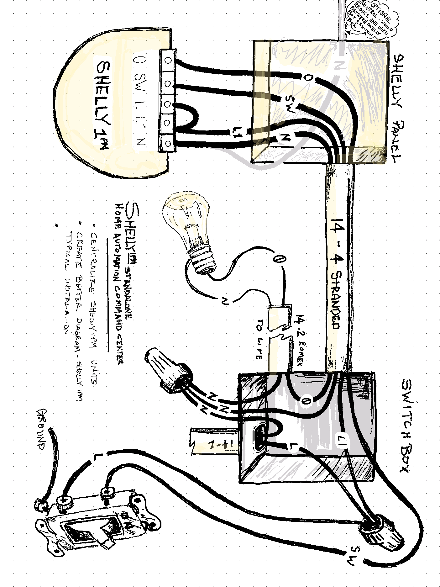 Shelly 1pm Wiring Diagram U S 120v In Line With Functional Light Switch In 2020 Light Switch Light Wire