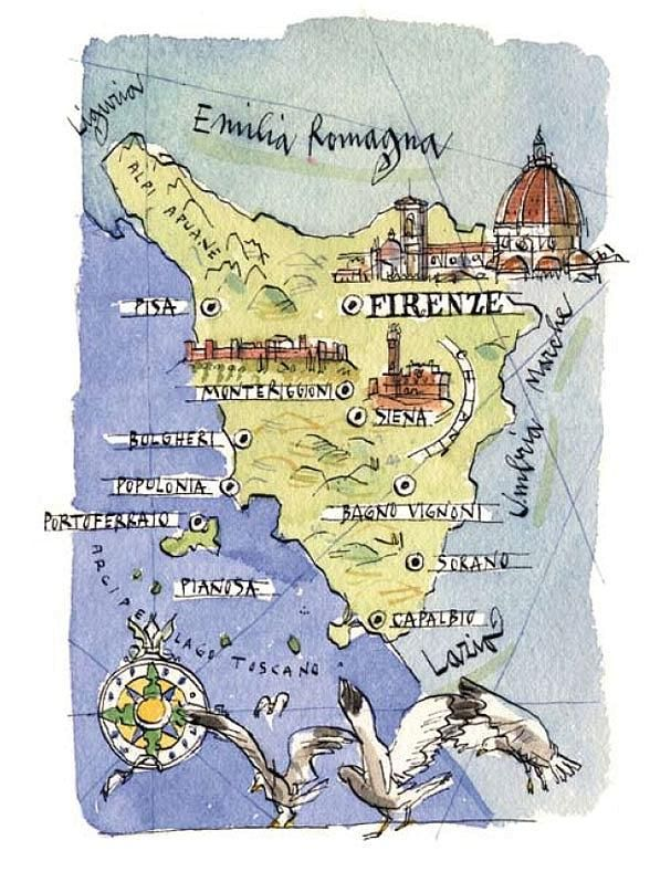 Michele Tranquillini - Map of Tuscany 2018 Italy and Greece - new unique world map poster