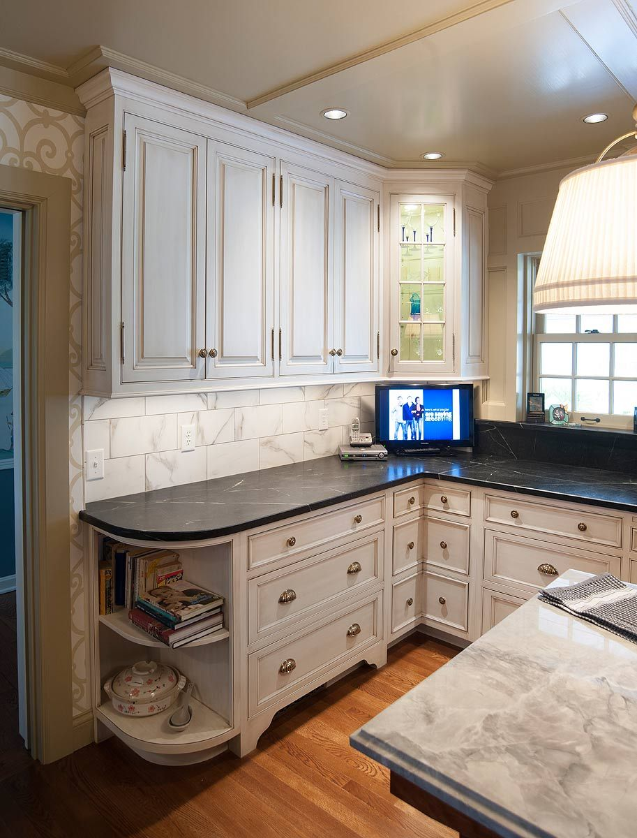 Nantucket Glazed Kitchen With Curly Cherry Island Mullet Cabinet Kitchen Cabinetry Home Kitchen Cabinet Design