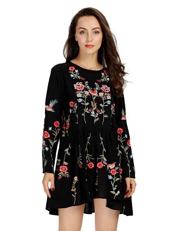 60e9013917 Vestido Manga Longa bordado Floral - Compre Online