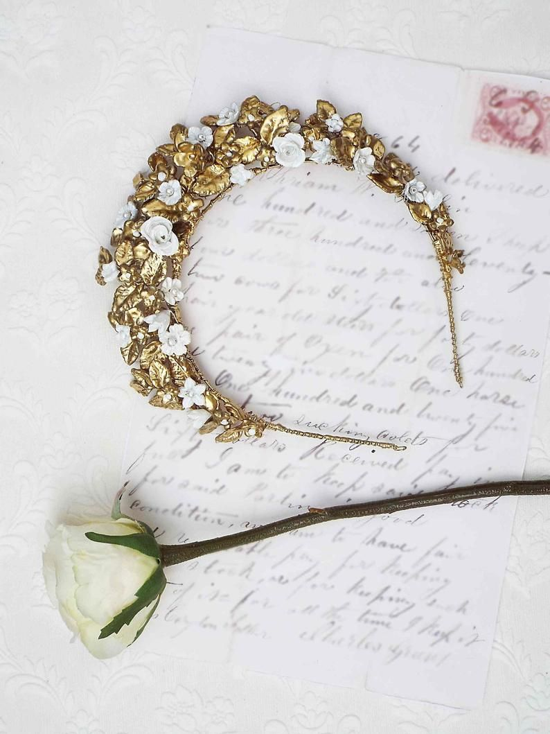Golden leaf crown, Bridal head piece, gold head band, antique style headpiece, golden bridal tiara, #108