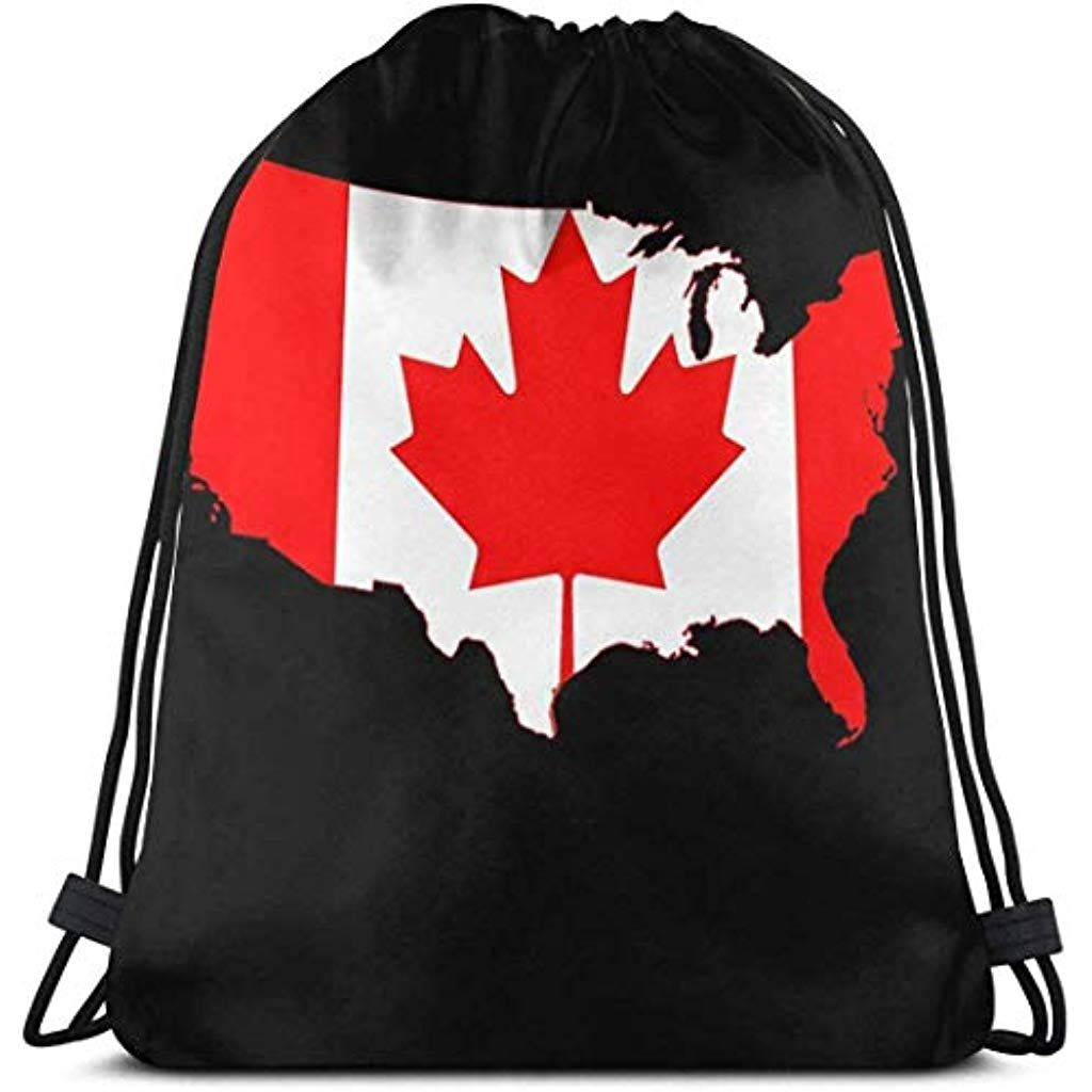 Drawstring Backpack Canada Map Rucksack