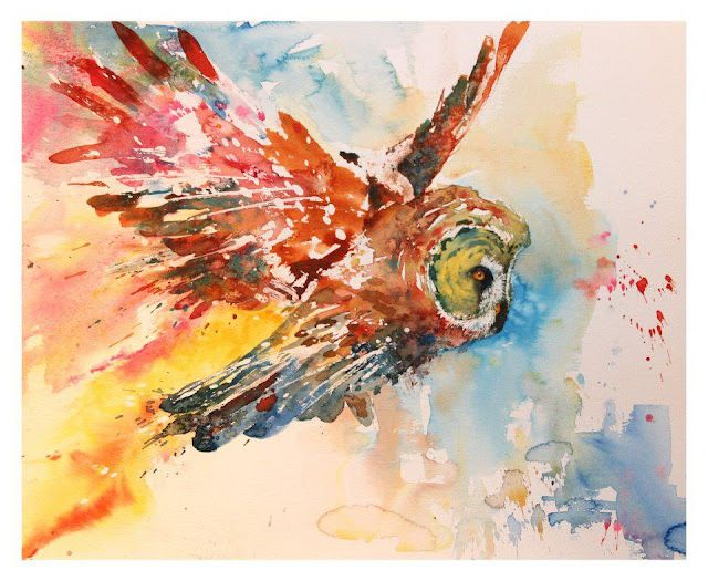 Watercolor owl. Wish I could make something this cool.