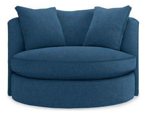 Room Board Eos Swivel Chair In Tatum Blue Fabric